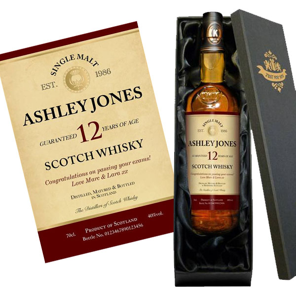 Personalised 12 Year Old Malt Whisky Gold Gift Carton