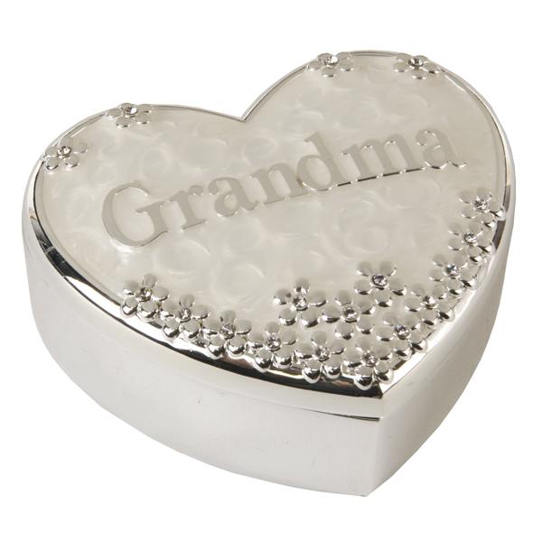 Grandma Silver Plated Heart Shaped Trinket Box - Grandma Gifts