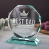 Personalised Best Dad Glass Octagon Award