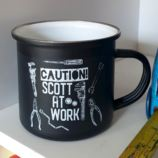 Personalised Caution DIY Black Enamel Mug