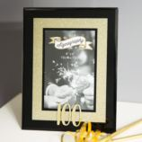 100th Birthday Gold Glitter Glass Frame