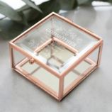 Personalised Godmother Rose Gold Glass Trinket Box