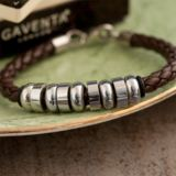 Brown Braided Leather Bracelet in Personalised Gift Box