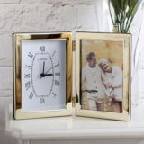 Personalised Brassplated Frame With Clock