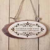 Personalised Anniversary Wooden Hanging Plaque