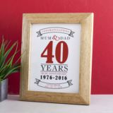 Personalised Ruby Anniversary Framed Print