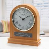 Personalised Arched Wooden Mantel Clock