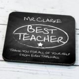 Personalised Best Teacher Chalk Board Coaster