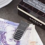 Luxury Engraved Black Ridge Money Clip in Personalised Gift Box
