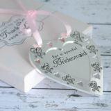 Bridesmaid Love & Cherish Silver plated Heart Plaque