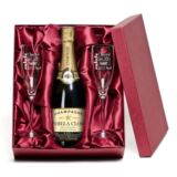 Champagne with Personalised Label and Personalised Flutes