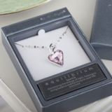 Silver Plated Crystal Heart Necklace in Personalised Box