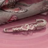Crystal Heart Pin Brooch in Personalised Gift Box