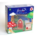 Red Arched Wooden Fairy Door