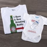Personalised 1st Father's Day Drinking Buddies T Shirt & Baby Grow Set