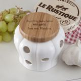 Personalised Wood and Ceramic Garlic Pot