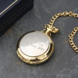 Engraved Two Tone Quartz Pocket Watch