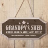 Personalised Grandpa's Shed Hanging Wooden Sign