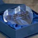Engraved Clear Heart Crystal Paperweight