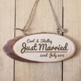 Personalised Just Married Wooden Hanging Plaque
