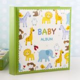 Baby Boys Zoo Photo Album With Keepsake Box
