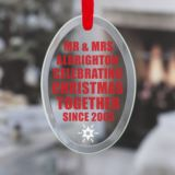 Personalised Celebrating Christmas Since Oval Hanging Glass Ornament