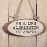 Personalised Mr and Mrs Established Wooden Hanging Plaque