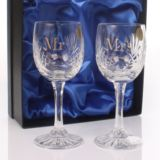 Personalised Mr & Mrs Cut Crystal Wine Glasses