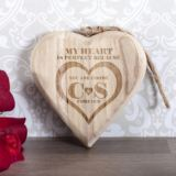 Personalised My Heart Is Perfect Wooden Hanging Heart