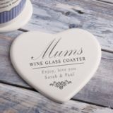 Personalised Wine Glass Heart Shaped Ceramic Coaster