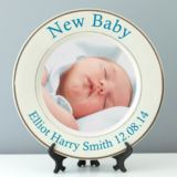 Personalised New Baby Photo Plate - Pink or Blue