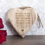 Personalised Oceans And Mountains Wooden Hanging Heart