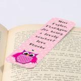 Personalised Pink Owl Bookmark
