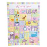 Personalised Baby Alphabet Quilt - Pastel Colours