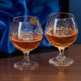 Engraved Pair Of Cut Crystal Brandy Glasses