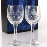 Valentines Day Gift - Engraved Cut Crystal Wine Glasses