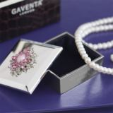 Engraved Luxury Trinket Box With Pink Crystal And Pearl Motif