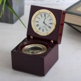 Clock And Compass In Personalised Luxury Wooden Box