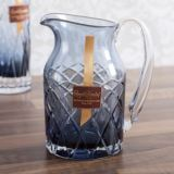 Royal Brierley Cut Crystal Harris Ink Blue Water Jug