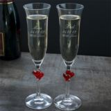 Personalised Pair of Red Heart Crystal Flutes