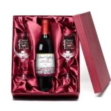 Red Wine and Personalised Glasses Gift Set