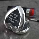 Shiny Silver Heart Handbag Mirror