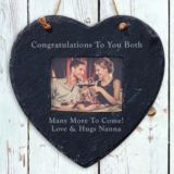 Personalised Slate Hanging Heart Frame