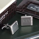 Engraved Crystal Cufflinks in Personalised Gift Box