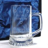 No.1 Valentine Personalised Crystal Pint Tankard