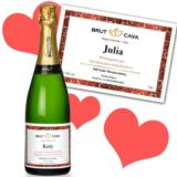 Valentines Day Personalised Bottle of Cava