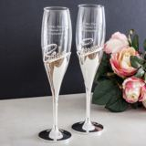 Personalised Bride & Groom Amore 3D Lettering Champagne Flutes