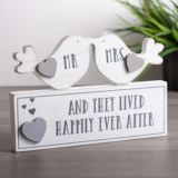 Mr and Mrs Happily Ever After Love Birds Mantel Plaque