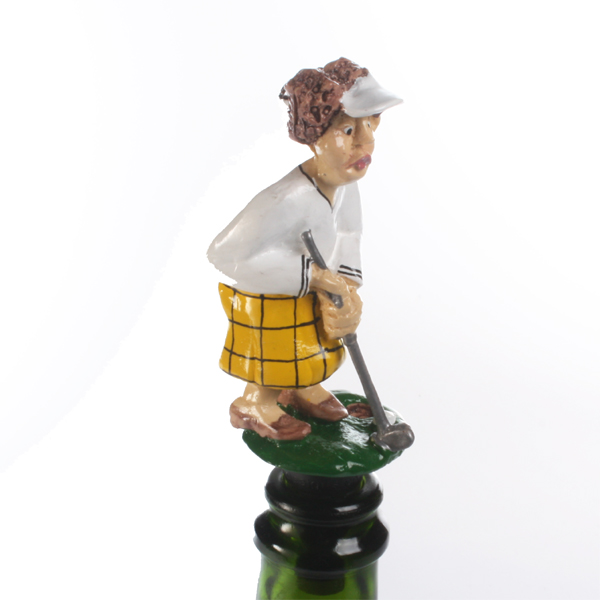 Lady Captain Golfer Bottle Stopper