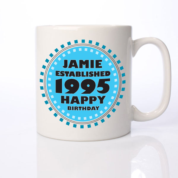 Established in... Personalised 18th Birthday Mug Blue